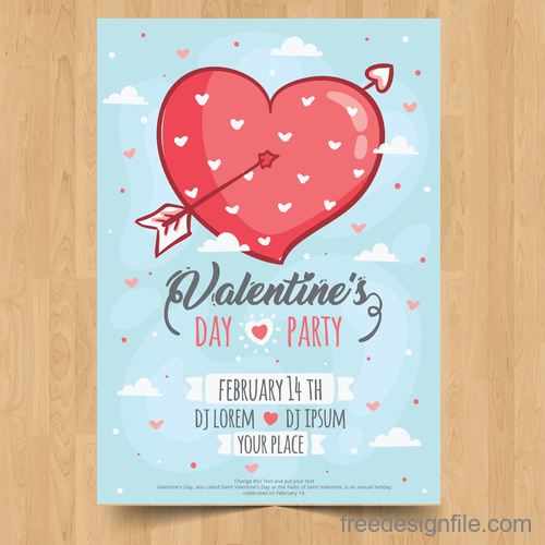 Valentines day festival party flyer vectors