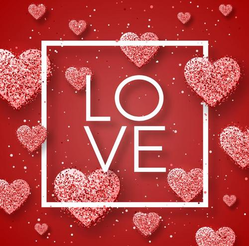 Valentines day frame with heart vectors