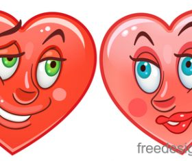 Valentines day heart emoticon design vector 01