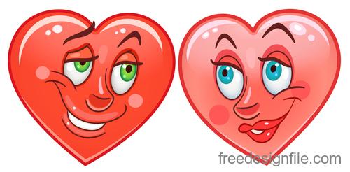 Valentines day heart emoticon design vector 01