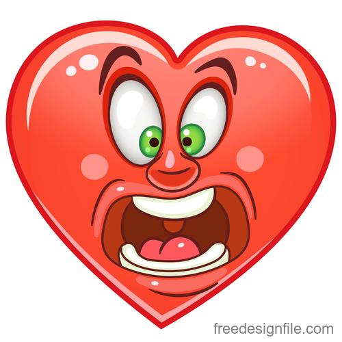 Valentines day heart emoticon design vector 02
