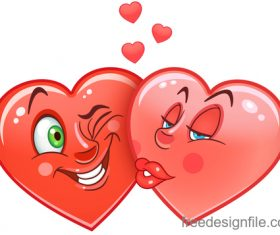 Valentines day heart emoticon design vector 03