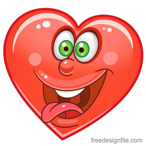 Valentines day heart emoticon design vector 04