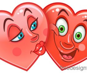 Valentines day heart emoticon design vector 06