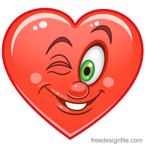 Valentines day heart emoticon design vector 07