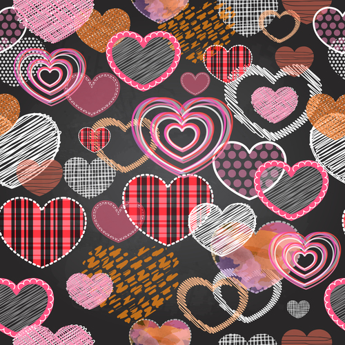 Valentines day heart seamless pattern with blackboard background vector