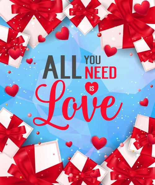 Valentines day love card vector material