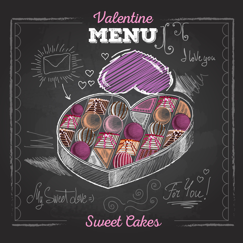 Valentines day menu blackboard template vector 01