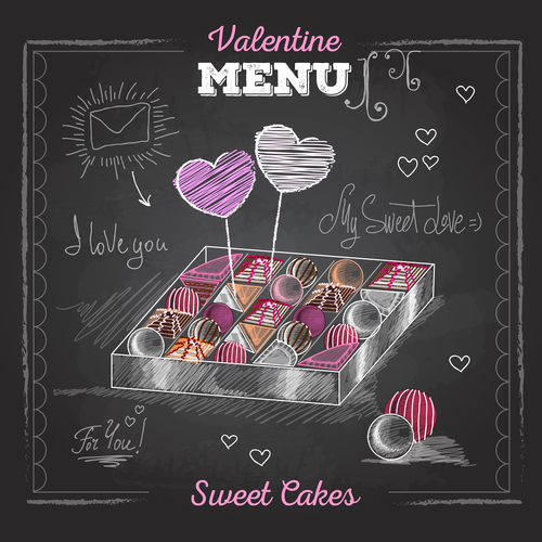 Valentines day menu blackboard template vector 02