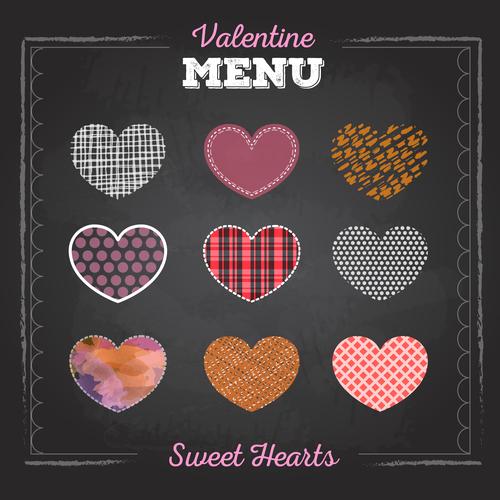 Valentines day menu blackboard template vector 04