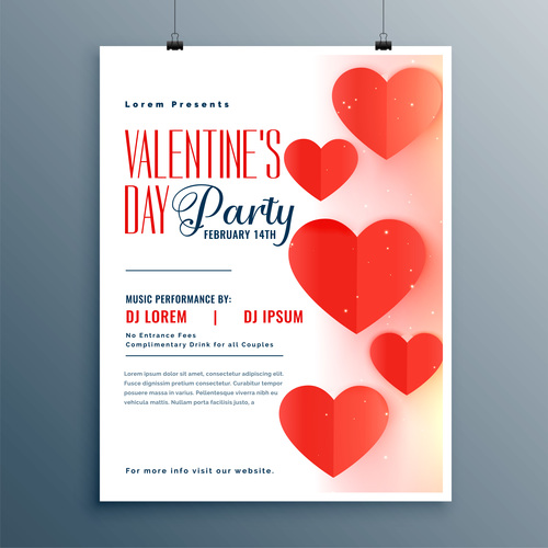 Valentines day party flyer with poster template vector 01