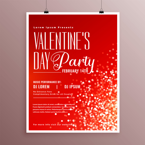 Valentines day party flyer with poster template vector 02