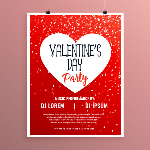 Valentines day party flyer with poster template vector 03