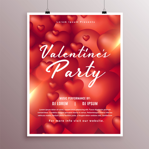 Valentines day party flyer with poster template vector 05