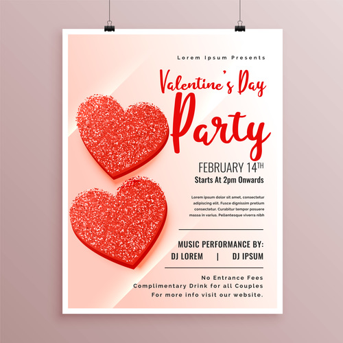 Valentines day party flyer with poster template vector 06