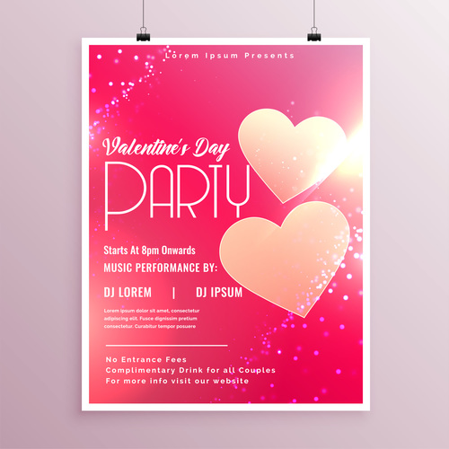 Valentines day party flyer with poster template vector 07