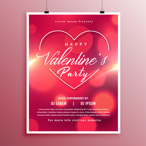 Valentines day party flyer with poster template vector 08