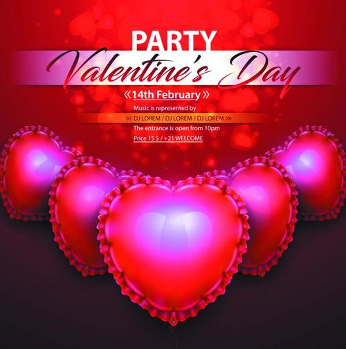 Valentines day party flyer with shiny heart vector
