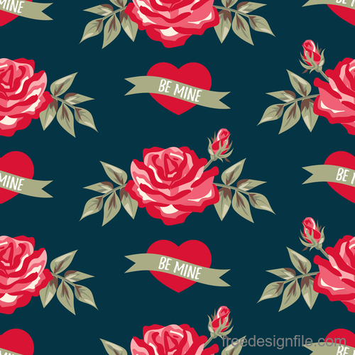 Valentines day pattern seamless vectors set 01