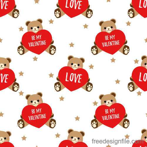 Valentines day pattern seamless vectors set 06