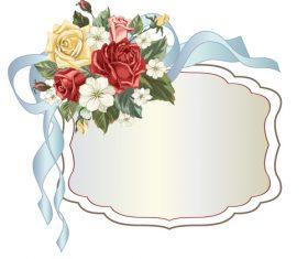 Valentines day rose frame vintage vector 01