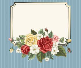 Valentines day rose frame vintage vector 02