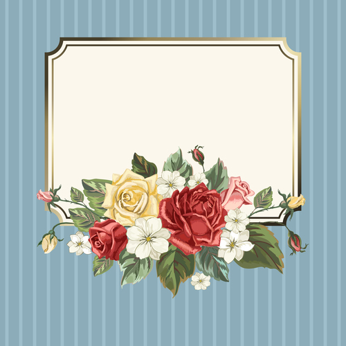 Valentines day rose frame vintage vector 02