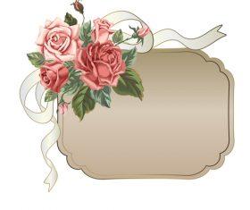 Valentines day rose frame vintage vector 03