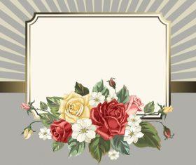 Valentines day rose frame vintage vector 04