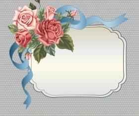 Valentines day rose frame vintage vector 05