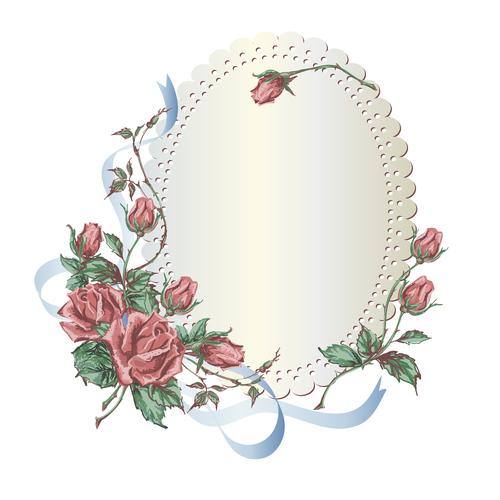 Valentines day rose frame vintage vector 06