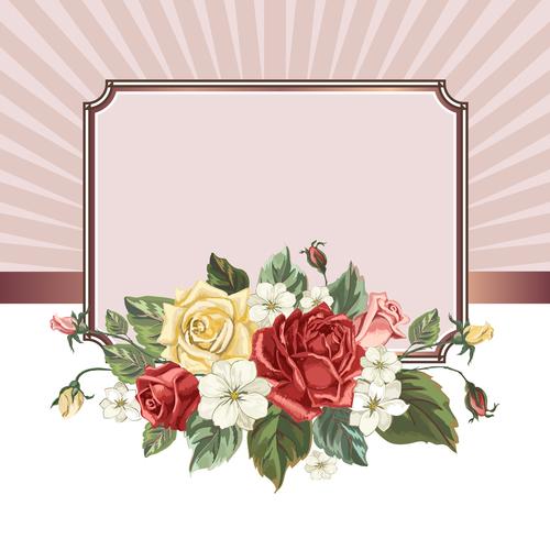 Valentines day rose frame vintage vector 07