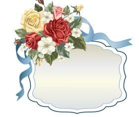 Valentines day rose frame vintage vector 08