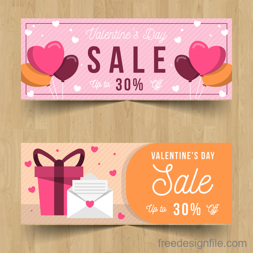 Valentines day sale discount coupon vector 02