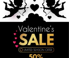 Valentines day sale discount poster vectors 01