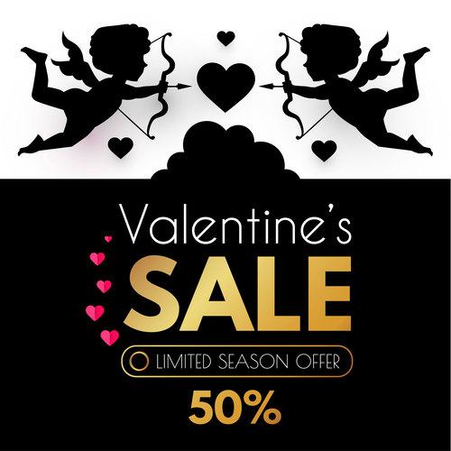 Valentines day sale discount poster vectors 01