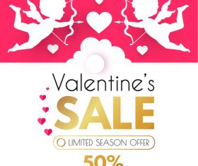 Valentines day sale discount poster vectors 03