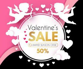 Valentines day sale discount poster vectors 04