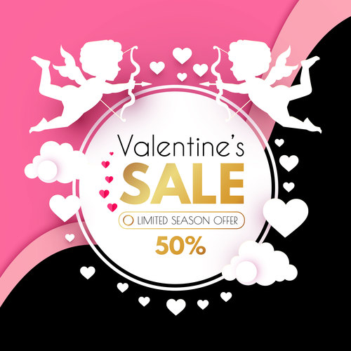 Valentines day sale discount poster vectors 04