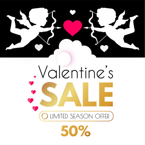 Valentines day sale discount poster vectors 07