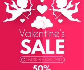 Valentines day sale discount poster vectors 08