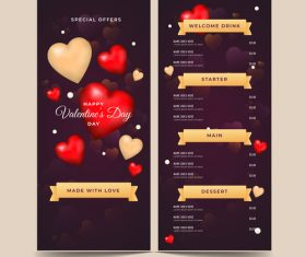 Valentines day special offer menu template vector 01