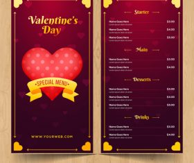 Valentines day special offer menu template vector 02