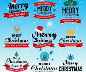 Vector xmas labels vintege design 01