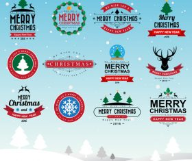 Vector xmas labels vintege design 02
