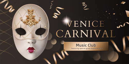 Venice Carnival Music Club Poster Template vector 01