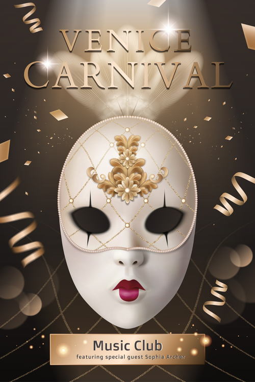Venice Carnival Music Club Poster Template vector 02