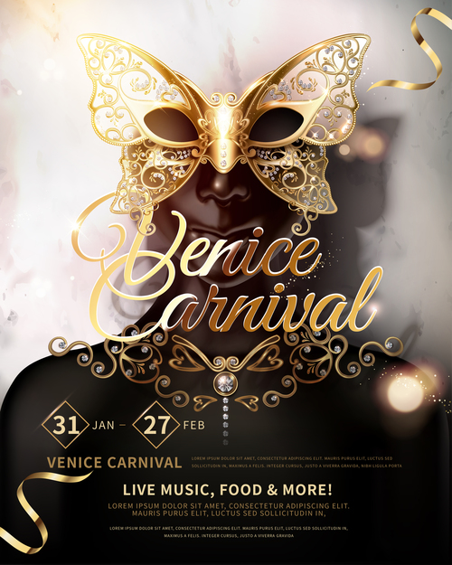 Venice Carnival Music Club Poster Template vector 03
