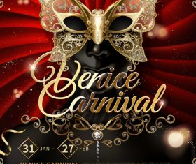 Venice carnival music party poster vector design 01