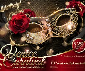 Venice carnival music party poster vector design 02